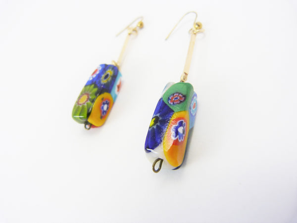Millefiori Venetian Glass Bead Earrings