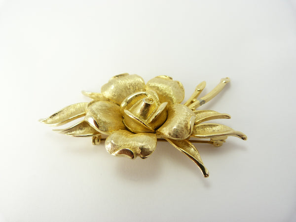 Vintage Gold Rose Brooch Signed Sphinx