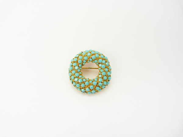 Gold Tone & Turquoise Brooch