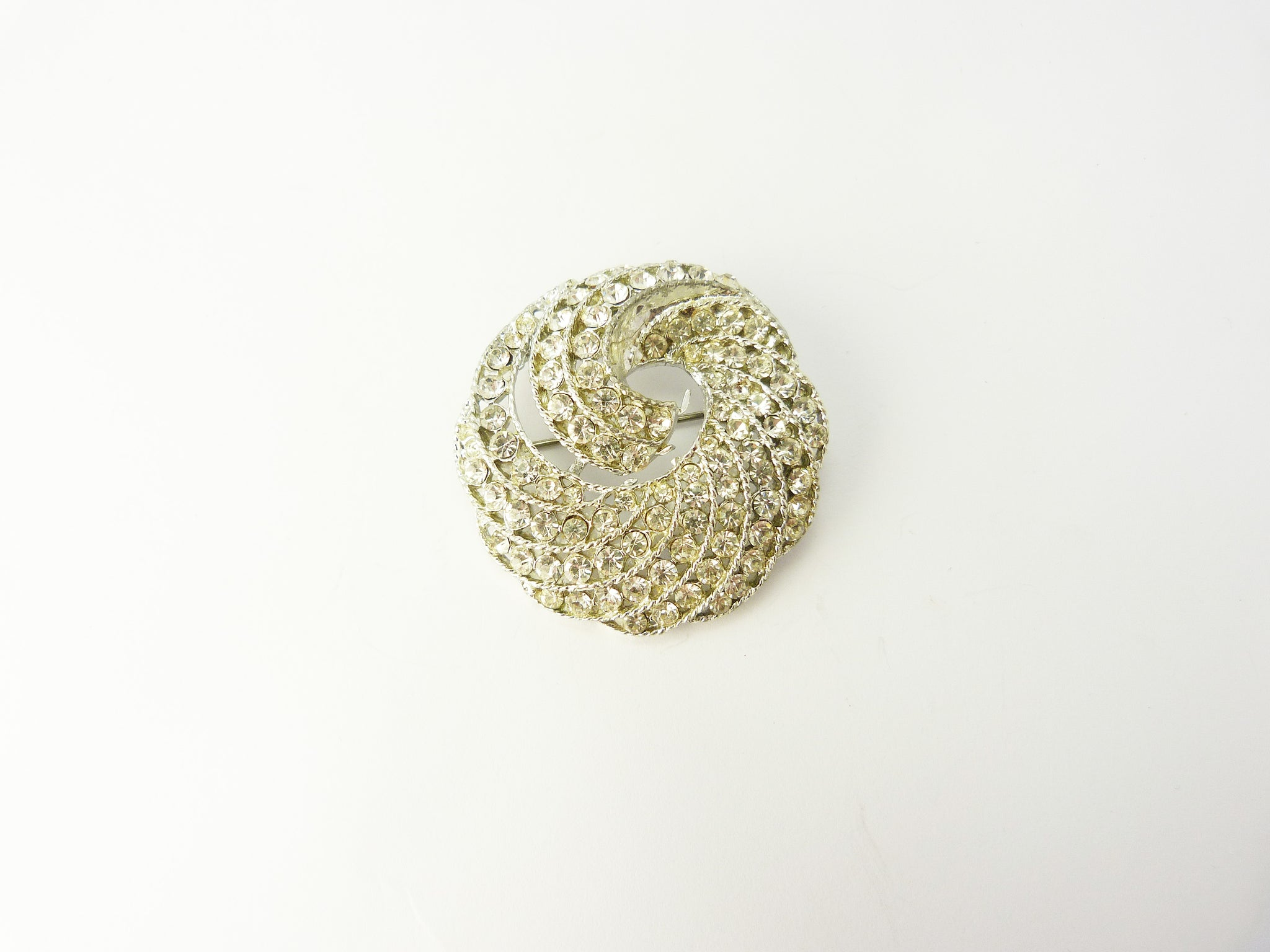 Vintage Clear Rhinestone Circular Spiral Swirl Brooch - 1950's Crystal Diamante Brooch - Faux Diamond Wedding Bridal Brooch