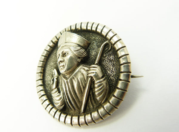 Antique Norwegian Henrik Moller Silver Bishop Brooch
