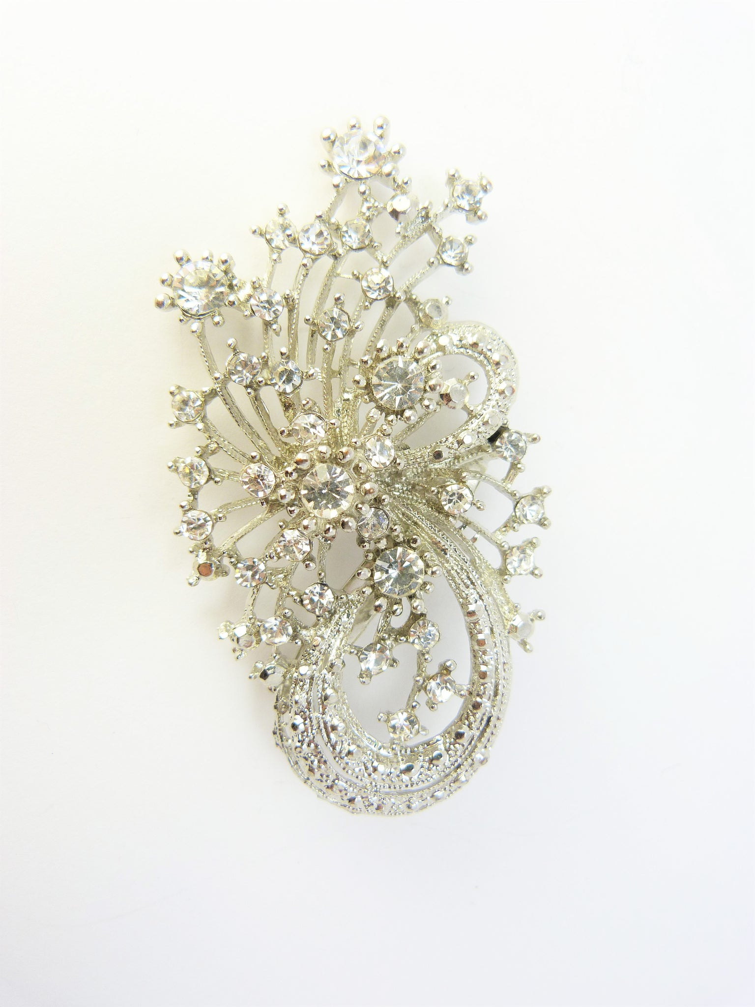 Crystal Diamante Flower Spray Brooch