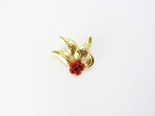Vintage Gold Tone & Red Rose Brooch