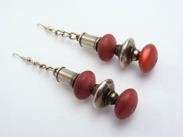 Art Deco Chrome & Red Bead Drop Earrings