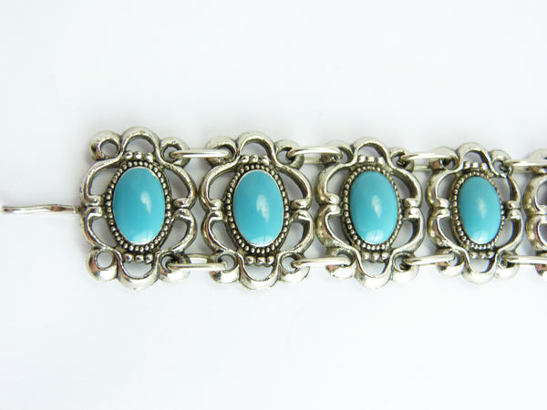 Vintage Art Deco Faux Turquoise Glass Panel Bracelet