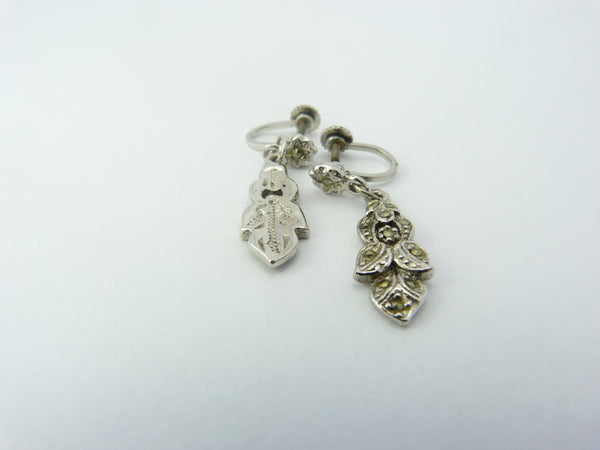 Art Deco Marcasite Leaf Drop Earrings