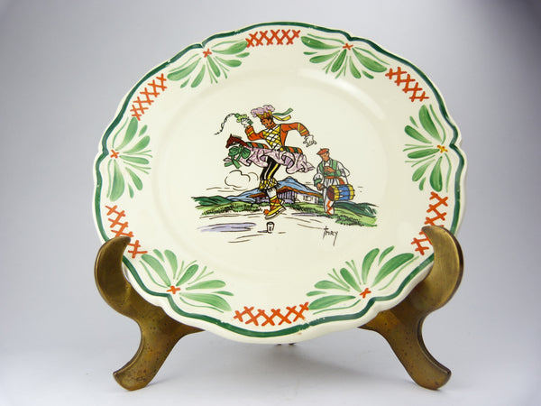 Antique French Sarreguemines Hand Painted Porcelain Plate