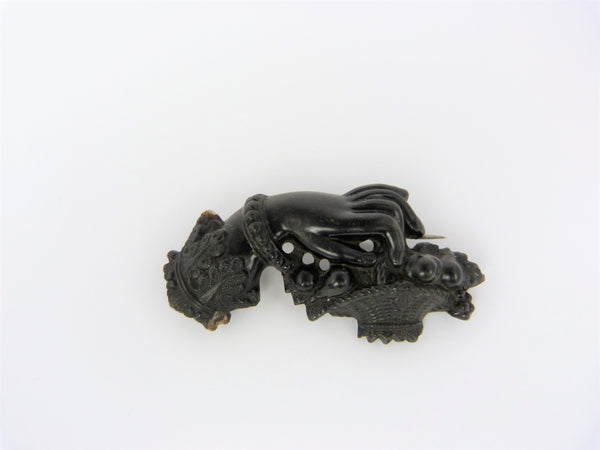 Victorian Vulcanite Mourning Brooch