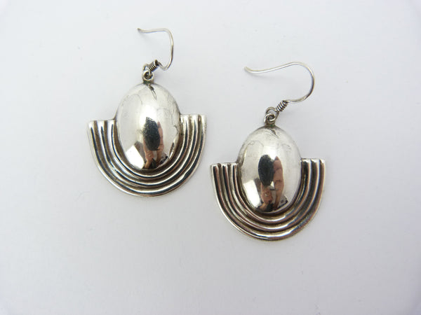 Art Deco Egyptian Revival Silver Earrings
