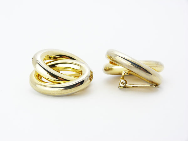 Vintage Large Gold Tone Circular Clip On Earrings