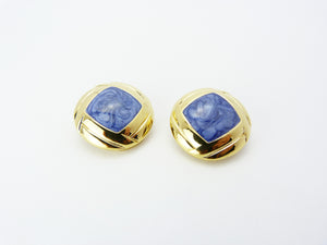 1980s Gold & Blue Enamel Clip On Earrings