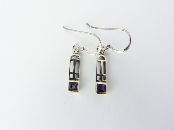 Celtic Mackintosh Style Silver & Purple Amethyst Glass Earrings