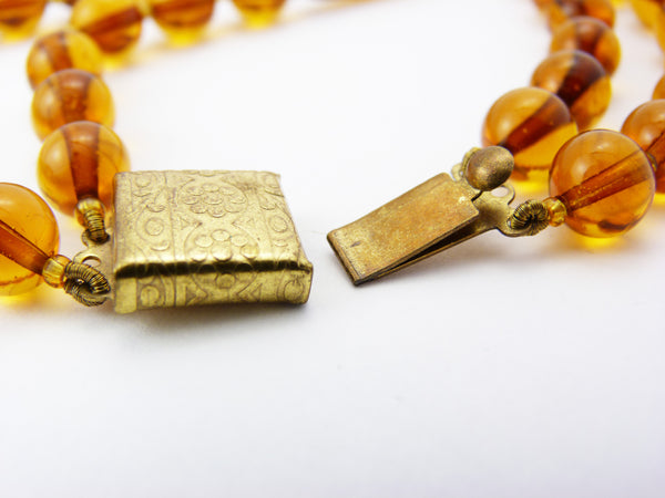 Art Deco Amber Gold Foil Venetian Glass Bead Necklace
