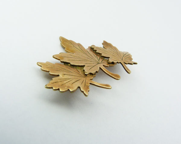 Rolled Gold Maple Leaf Sweetheart Brooch