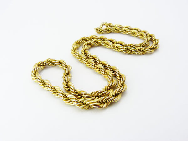 Vintage 1980's Gold Tone Rope Chain Necklace