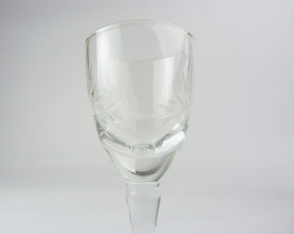 Vintage Engraved Crystal Liqueur Glasses