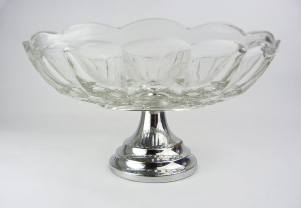 Vintage Glass & Chrome Pedestal Cake Stand