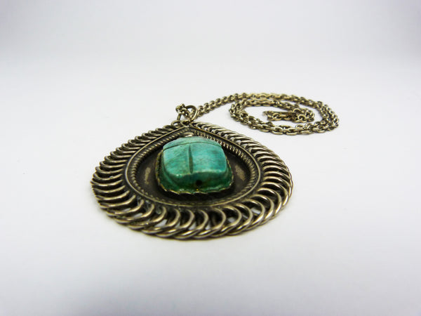 Art Deco Egyptian Revival Scarab Necklace