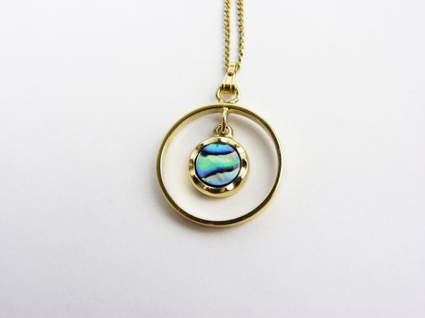 Vintage Gold Abalone Shell Pendant