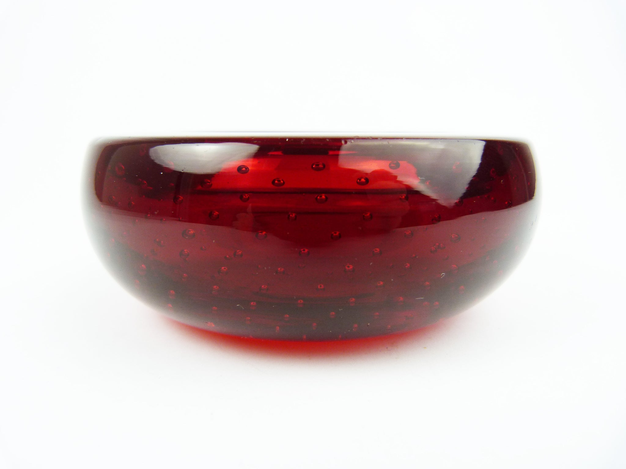 Vintage Whitefriars Ruby Red Glass Controlled Bubble Dish Bowl