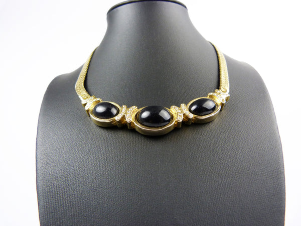 Vintage Gold Tone & Black Enamel Necklace and Earrings