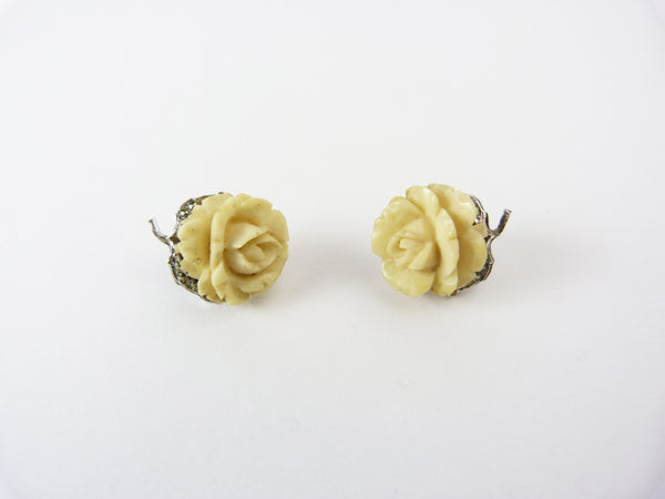 Art Deco Carved Natural Bone Rose & Marcasite Clip On Earrings