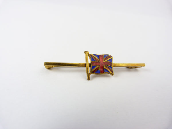 Vintage Gold Tone & Enamel  Union Jack Flag Bar Brooch