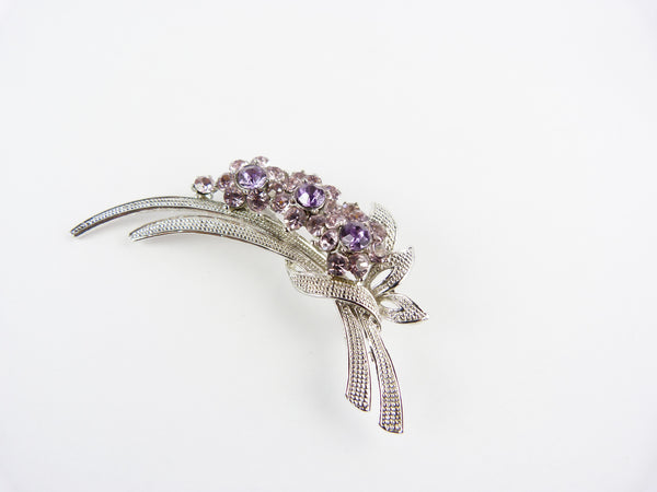 Vintage Silver Tone & Purple Flower Spray Brooch