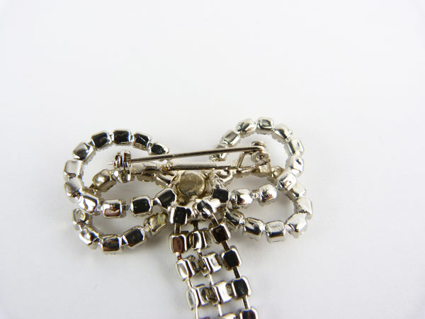 Vintage Clear Crystal Rhinestone Bow Brooch