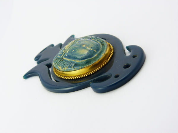 Art Deco Egyptian Revival Celluloid Faience & Brass Scarab Pendant
