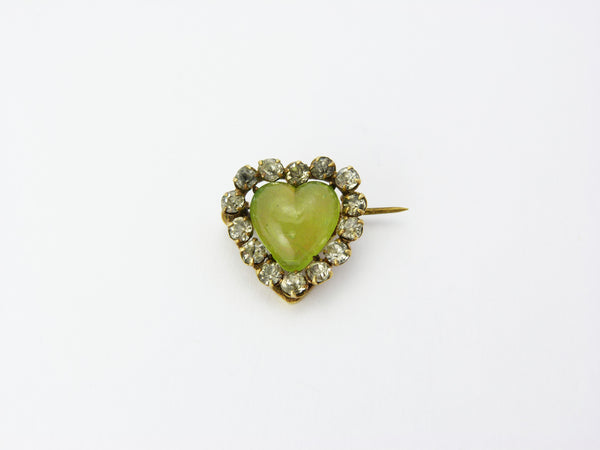 Antique Victorian Chryspoprase Chalcedony & Paste Heart Brooch