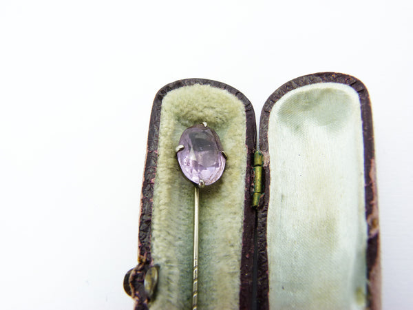 Antique Silver & Amethyst Stick Pin