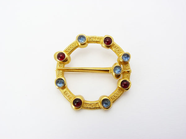 Vintage Gold Tone Blue & Red Glass Cabochon Annular Lovers' Brooch Signed B.M.P.L