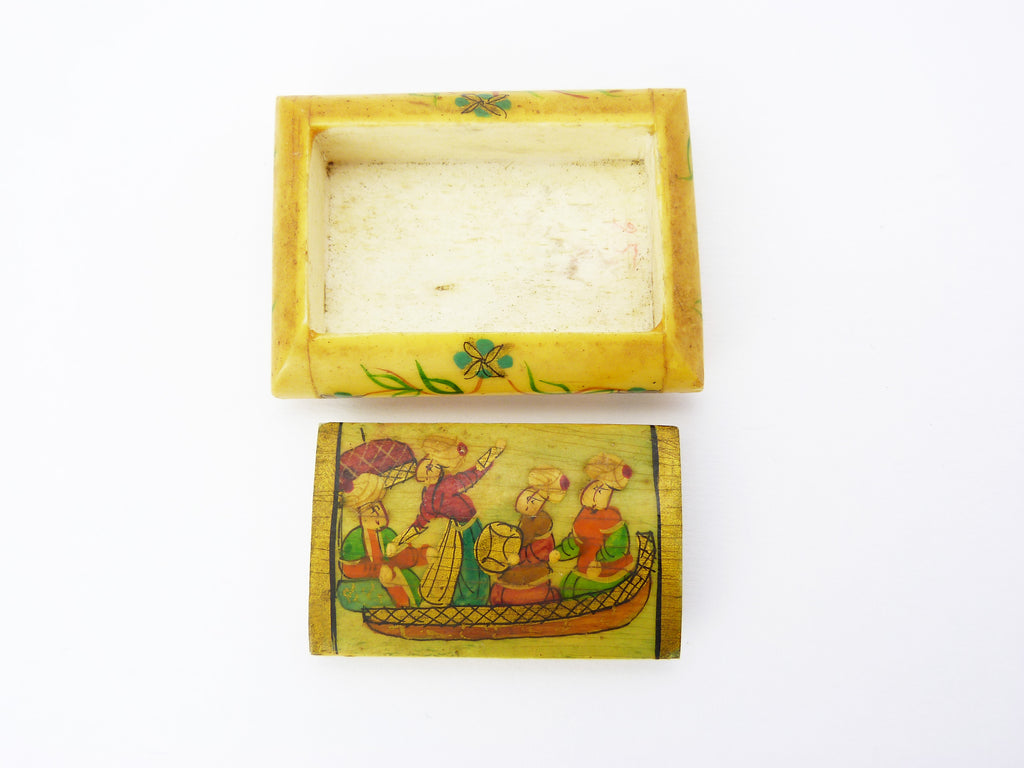 Antique Persian Carved Bone Hand Painted Snuff Pill Box Heaton House