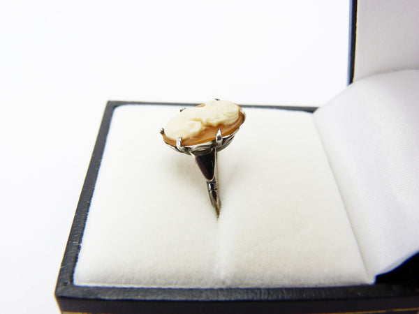 Antique Edwardian 9CT Gold & Silver Cameo Ring Size L Half