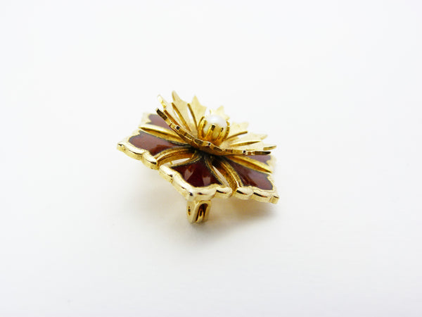 Vintage Gold Plated Faux Pearl & Red Enamel Flower Brooch