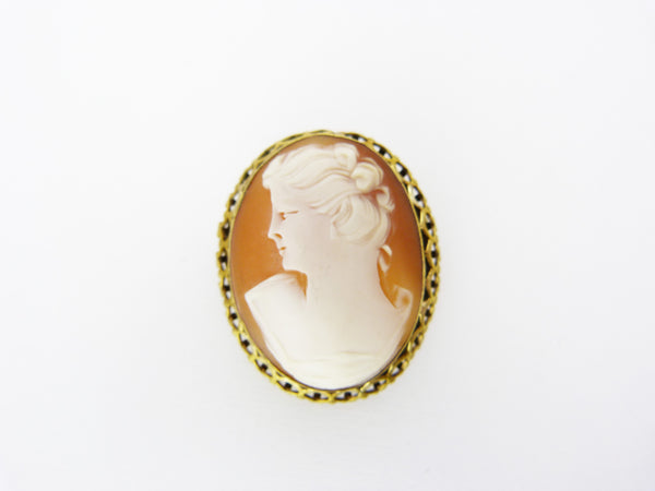 Vintage Gold Tone Gilt Metal Cameo Shell Brooch Pendant - Wedding Cameo Brooch