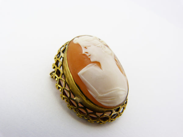 Vintage Gold Plated Cameo Shell Brooch Pendant