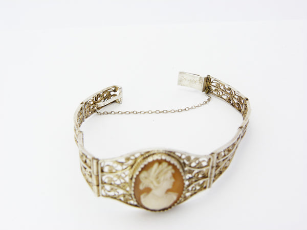 Antique Victorian Silver Filigree & Cameo Bracelet