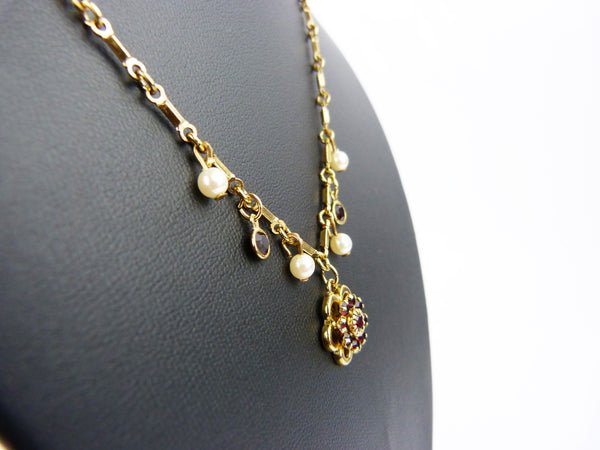 Vintage Gold Plated, Faux Pearl & Garnet Red Glass Stone Flower Pendant Necklace
