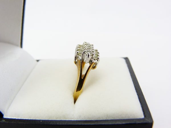 Vintage Gold Tone & Crystal Clear Rhinestone Cocktail Ring Size P