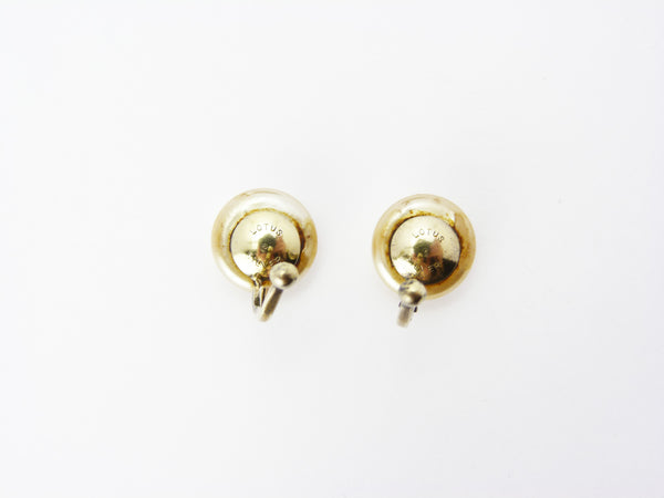 Vintage Lotus Simulated Pearl & Silver Clip On Earrings