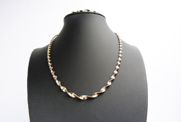 Silver & Rose Gold Plated Two Tone Twist Chain Necklace and Bracelet