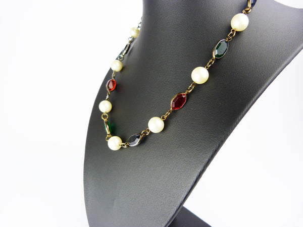 Vintage Faux Pearl Blue, Red & Green Glass Necklace