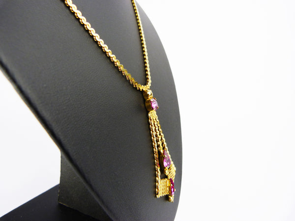 Vintage Gold Tone & Pink Glass Rhinestone Pendant Necklace
