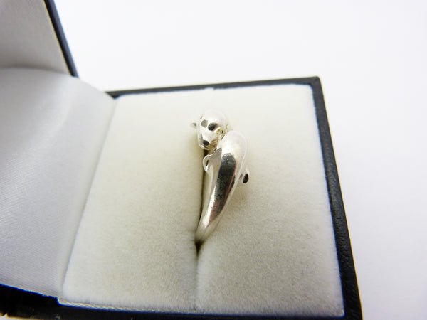 Vintage Silver 925 Dolphin Ring UK Size P