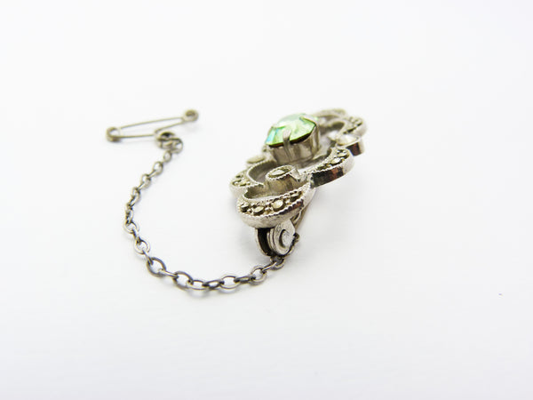 Art Deco Silver Marcasite & Green Glass Brooch