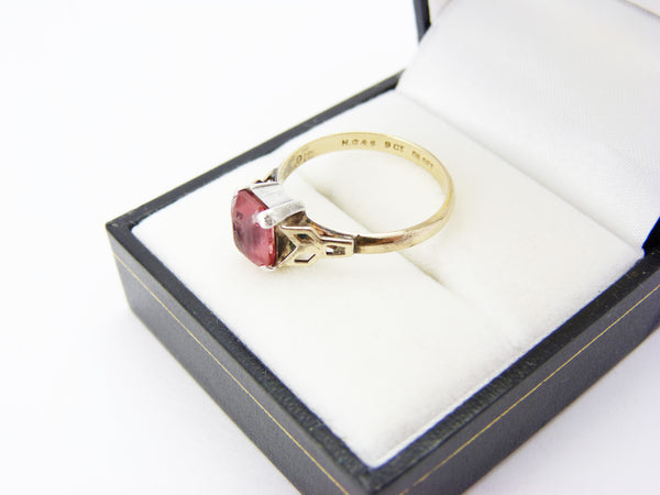 Art Deco H.G. & Sons 9ct Gold and Silver Pink Tourmaline Paste Ring UK Size P