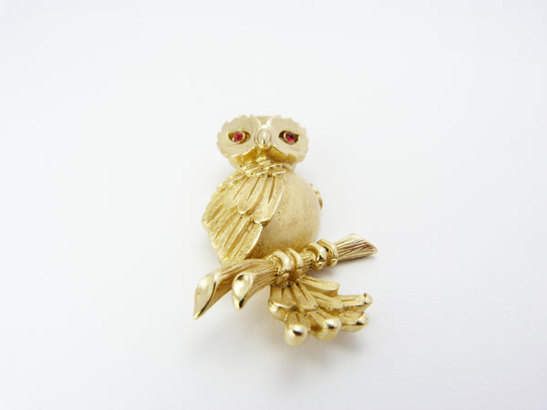 Vintage Crown Trifari Brushed Gold Owl Brooch