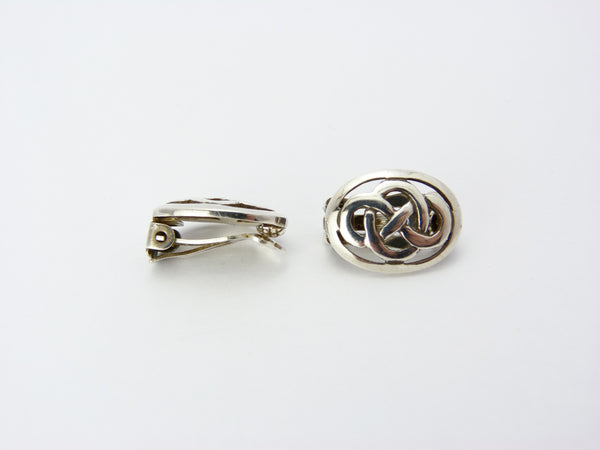 Vintage Sterling Silver Kit Heath Celtic Knot Clip On Earrings